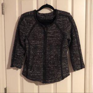 Ann Taylor Loft Framed Fringe Tweed Jacket